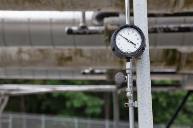 A pressure gauge at Dominion Energy's Cove Point LNG plant and terminal.