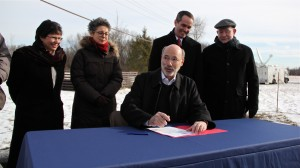 Gov. Tom Wolf signs an executive order reinstating the moratorium on new leases for oil and gas development in state parks and forests. The event took place at Benjamin Rush State Park in Northeast Philadelphia.