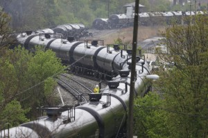 An April 2014 oil train derailment in Lynchburg, Va. A string of similar accidents around the country has prompted calls for safety upgrades.