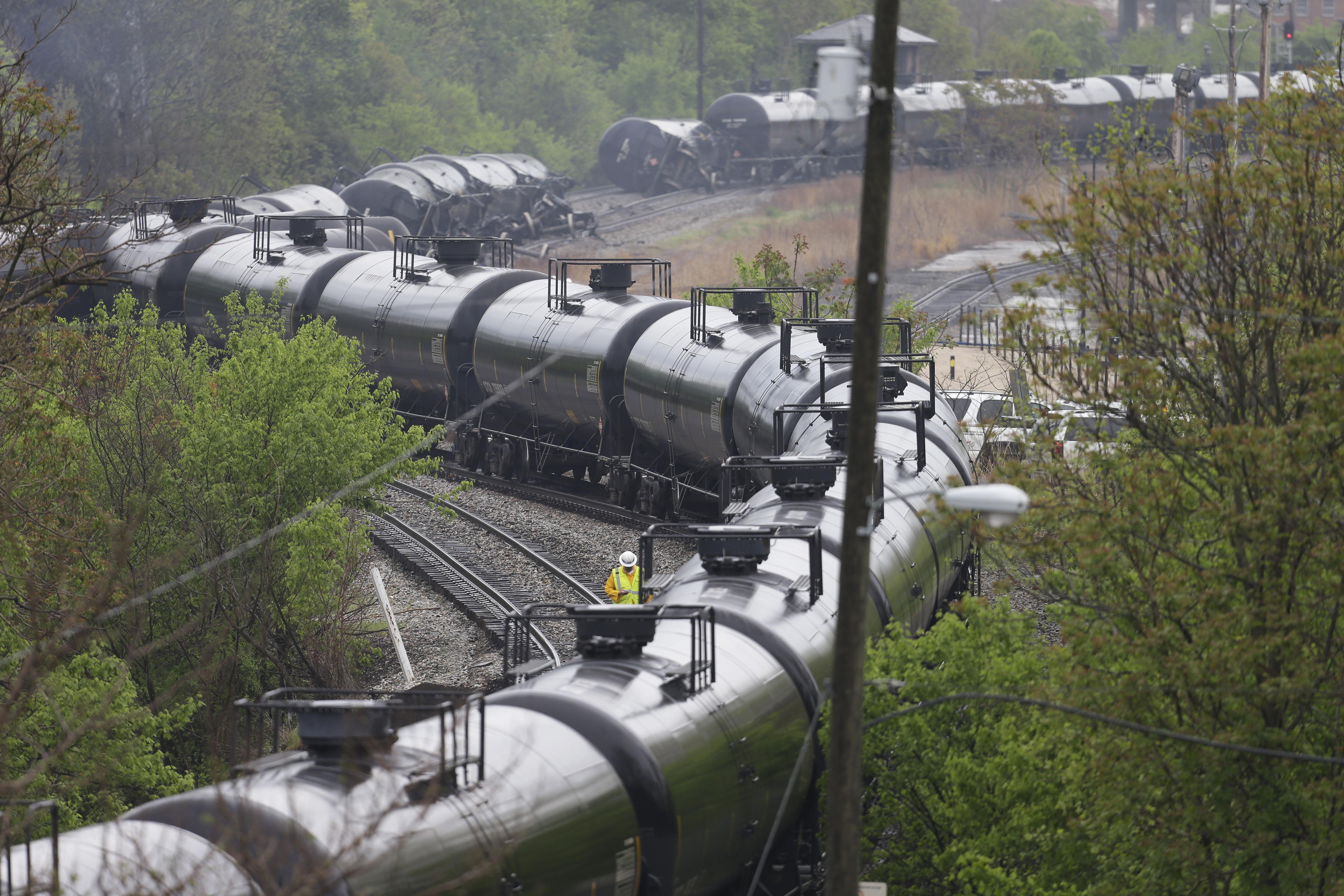 An April 2014 oil train derailment in Lynchburg, Va. A string of ...: https://stateimpact.npr.org/pennsylvania/2015/02/02/oil-train-cars-derail-in-philadelphia/