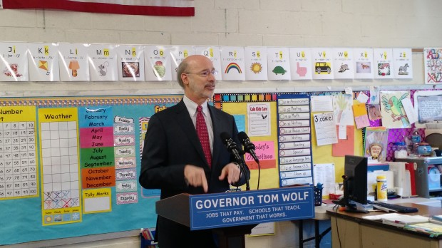 Pennsylvania Governor Tom Wolf proposes a 5 percent severance tax on natural gas drilling at Caln Elementary School in Thorndale, Chester County.