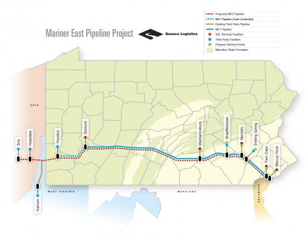 This graphic shows Sunoco's two natural gas liquids pipelines, the Mariner East 1 and the proposed Mariner East 2.