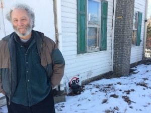 Anti-fracking activist Jeremy Alderson outside his home in Hector, N.Y.