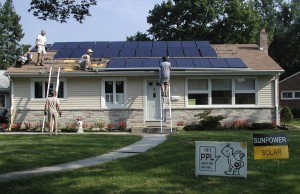 n this undated photo provided by Tami and Randy Wilson, solar panels are installed on the Harrisburg, Pa. home of the Wilson's. When their utility announced a 30 to 40 percent rate increase, the Wilsons installed solar panels which provided their 1,500 square foot ranch home with all of its needs. Between the monthly utility savings, government subsidies, solar renewable energy certificates and carbon credits, the Wilson's expect to pay off their $58,000 solar system in six years.