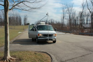 A van outfitted with special equipment to track methane leaks from shale gas sites.