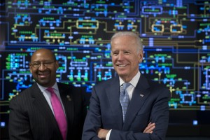 Vice President Joe Biden, right, accompanied by Mayor Michael Nutter tours the headquarters of PECO energy company in Philadelphia, Tuesday, April 21, 2015. The White House has released a four-year energy plan, Quadrennial Energy Review, designed to fight climate change, modernize power plants and find other ways to ensure the nation a steady supply of safe energy.