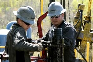 Workers at a natural gas site in Bradford County.