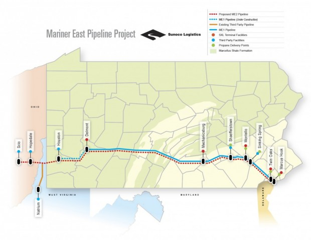 The Mariner East 1 line (blue) is already shipping natural gas liquids. State regulators will hold meetings on the proposed Mariner East 2 pipeline (dotted red line).