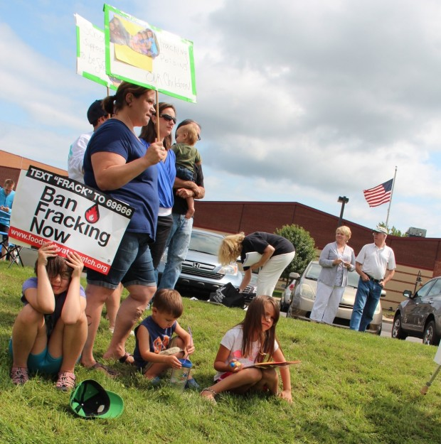 Nichole Mazurek, of Middlesex Township, at an anti-fracking protest with her three children, Samantha, 8, Ian, 3, and Alyson 6.