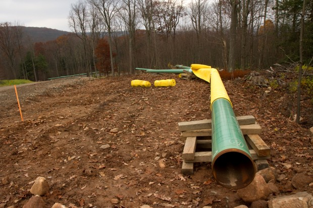 A pipeline from a Senaca Resources gas well before getting installed along a road in the Loyalsock State Forest.