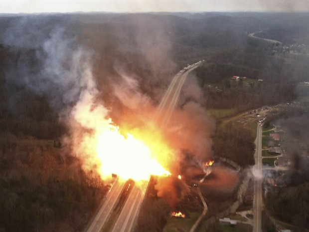 A fireball erupts across Interstate 77 from a gas pipeline explosion in Sissonville, W.Va.  In the 2012 incident, the stretch of pipeline that ruptured hadn't been inspected or tested for 24 years.