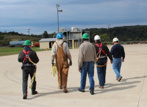 Workers undergoing a training for the natural gas industry at a community college in Fayette County, Pa.