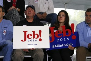 Jeb Bush supporters listen as the  Republican presidential candidate, former Florida Gov. Jeb Bush to outline his energy policy during a visit to Rice Energy, an oil and gas company based in Canonsburg, Pa., Tuesday, Sept. 29, 2015.