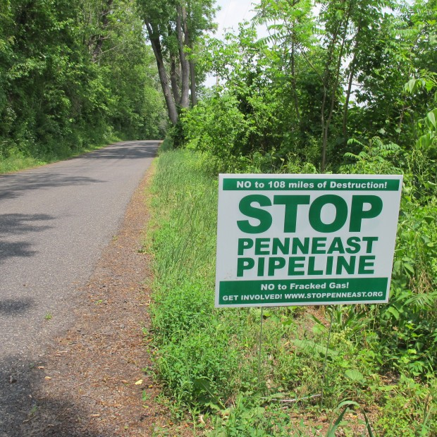 A sign protesting the PennEast pipeline along a road in Durham Township, Bucks County.