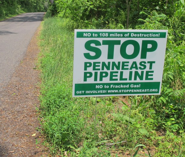 A yard sign opposing the planned PennEast pipeline. New Jersey officials said they need much more information before making a decision on permits.