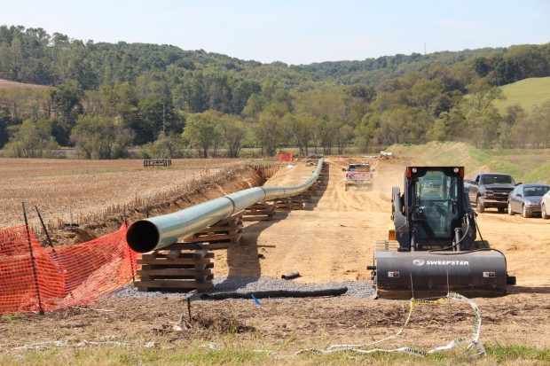 A pipeline under construction in Butler County, Pa.