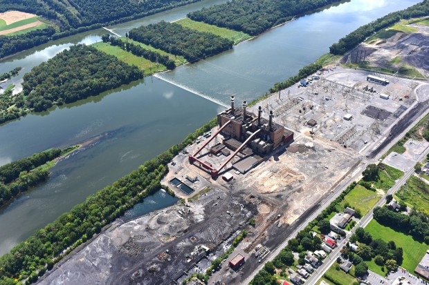 An aerial shot of the former Sunbury coal plant. A new natural gas powered plant will be constructed to replaces the shuttered facility.