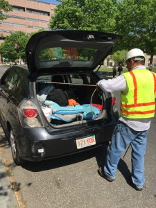 Gas safety consultant Bob Ackley has outfitted his car to detect gas leaks as he drives.