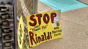 A protest sign targets Phil Rinaldi, CEO of the refinery Philadelphia Energy Solutions