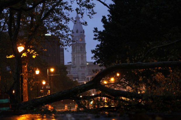 A downed tree blocks a section of the Benjamin Franklin Parkway, as Hurricane Irene made its way along the Eastern Seaboard, Aug. 28, 2011, in Philadelphia.