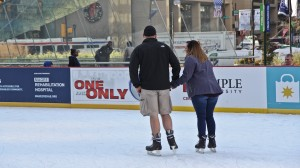 A few skaters at Rothman Rink at Dilworth Park wore shorts this week.