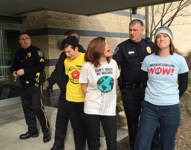 Seven people were arrested after they disrupted Governor Wolf's pipeline task force meeting in Harrisburg Wednesday.