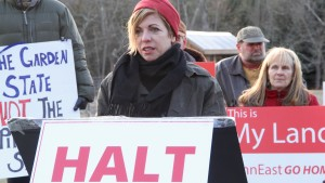 Jacqueline Evans, whose farm near Stockton, N.J., lies in the path of the proposed PennEast pipeline, speaks out against the project.