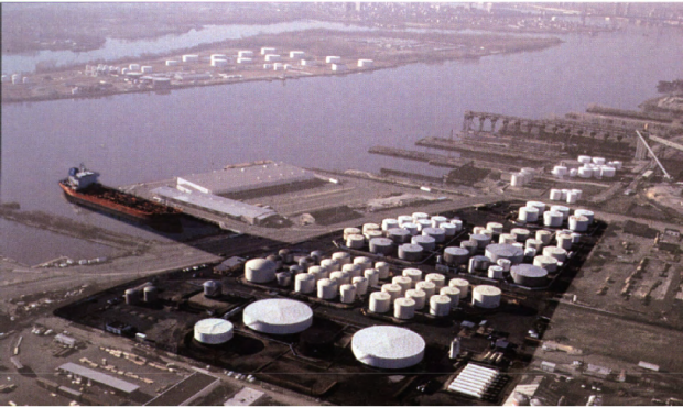 An aerial view of the Kinder Morgan Philadelphia Terminal along the Delaware River.