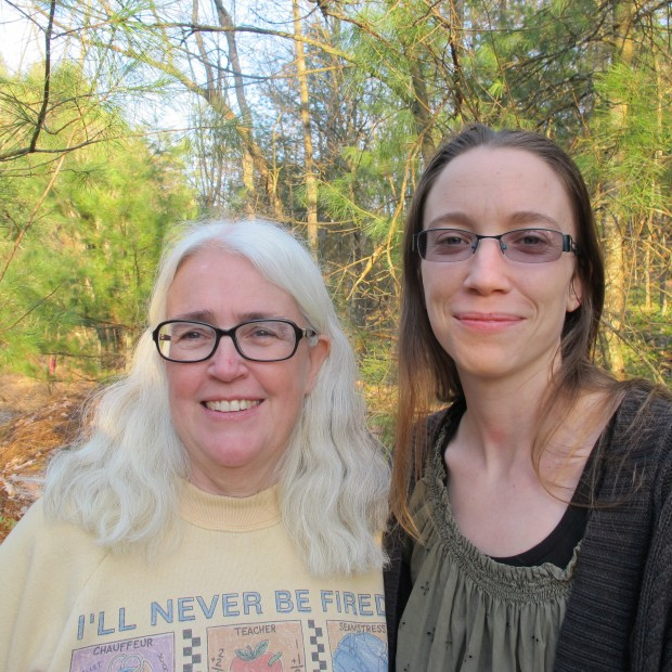Ellen Gerhart (L) with her daughter Elise on their land in Huntingdon County. Common Pleas Court Judge George Zanic has given Sunoco permission to cut trees while the case is on appeal.