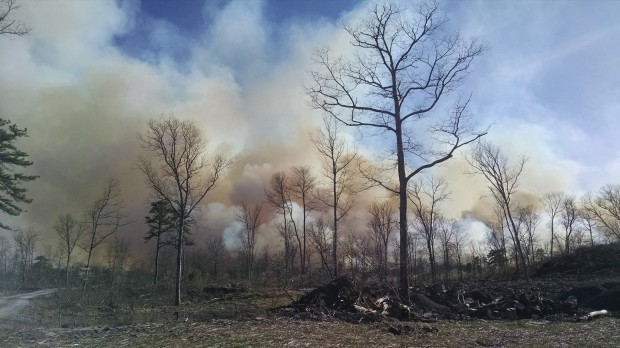 Smoke rises from a fire in the Poconos that began a week ago and just came under control. The fire stretched 16 miles and burned 8,000 acres.