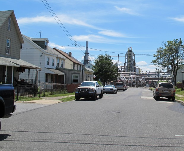 A view of the Sunoco facility in Marcus Hook, Delaware County. Business leaders want to use Marcellus Shale gas to power an industrial renaissance along the Delaware River.