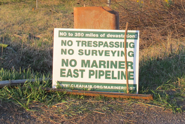A sign protesting the building of the Mariner East 2 pipeline in Huntingdon County.