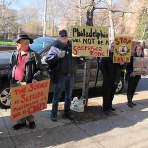 Protesters demonstrate outside of the Chemical Heritage Foundation in Old City Philadelphia. The Greater Philadelphia Chamber of Commerce was meeting inside to discuss the energy hub.