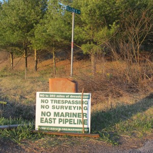 A sign opposing the Mariner East 2 pipeline at the edge of the Gerhart's property.