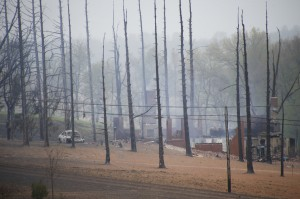 A burned out house is surrounded by charred ground and trees following a natural gas explosion at a pipeline complex on Friday, April 29, 2016, in Salem Township, Pa. The explosion caused flames to shoot above nearby treetops in the largely rural area, about 30 miles east of Pittsburgh, and prompted authorities to evacuate businesses nearby.
