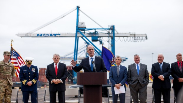 U.S. Senator Bob Casey (D) speaks at a press conference regarding the dredging of the Delaware to increase shipping traffic to the Packer Avenue Marine Terminal.