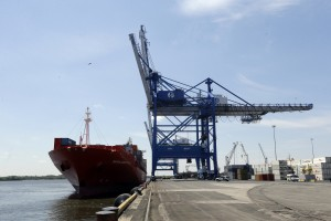 The Bahia Castillo, a Hamburg SUD-operated refrigerated cargo ship carrying fresh Chilean fruit and other goods docks at Packer Avenue Marine Terminal, Tuesday, May 14, 2013, in Philadelphia.