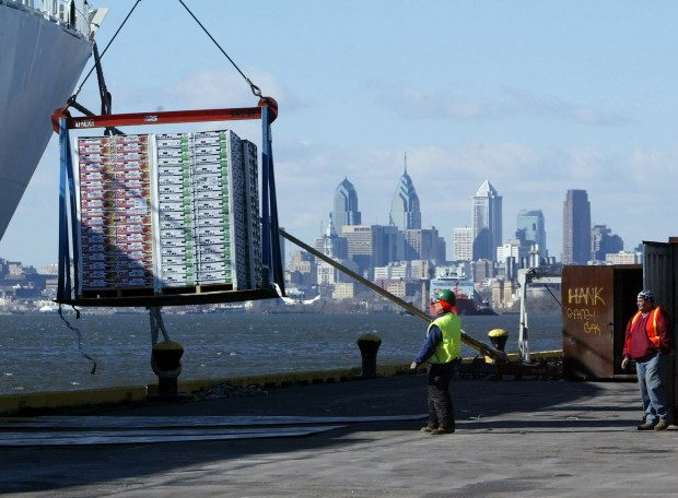 Longshoreman unload fruit from a container ship, Friday, Feb. 24, 2006, at the Tioga Marine Terminal in Philadelphia.