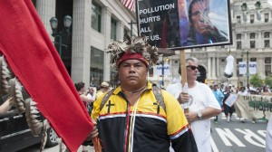 Chief Vincent Mann of the Turtle Clan, part of the Ramapough Lenape Indian Nation leads a contingent of Native Americans opposed to pipelines crossing their land.
