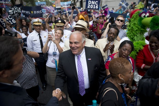 Former Pennsylvania Gov. Ed Rendell, center, greet Democratic National Committee (DNC) representatives Wednesday, Aug. 13, 2014, in Philadelphia.