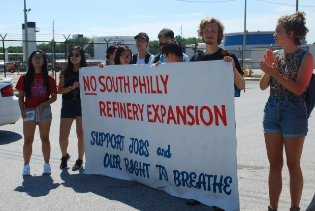 Demonstrators called for Philadelphia Energy Solutions to Scrap its plans to expand at Southport.