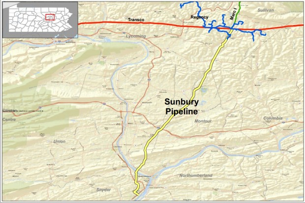 A map of the Sunbury pipeline.