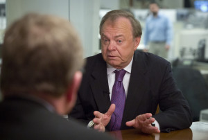 Harold Hamm, CEO of Continental Resources and among the pioneers in shale oil drilling in the U.S., is interviewed, Wednesday, Jan. 13, 2016, in New York. Oil executive Harold Hamm expects the price of oil to rise to about $60 by the end of the year as companies in North Dakota, Texas and elsewhere cut production and whittle down the current glut in the market. (AP Photo/Bebeto Matthews)
