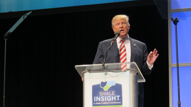 Donald Trump addresses oil and gas industry executives at the annual Shale Insight conference in Pittsburgh Wednesday.