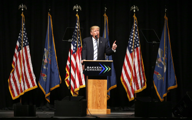 Republican presidential candidate Donald Trump addresses the crowd at the Williston Basin Petroleum Conference Thursday, May 26, 2016, in Bismarck, N.D.
