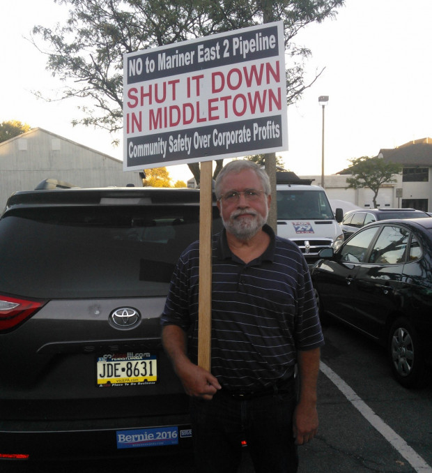 Mitch Trembicki, an opponent of the Mariner East 2 pipeline project, urged Middletown officials to block a plan to build two pipelines on public land.