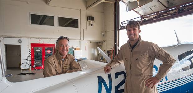 NOAA researcher Stefan Schwietzke and pilot Stephen Conley prepare to take off on a research flight to measure methane emissions in Colorado.