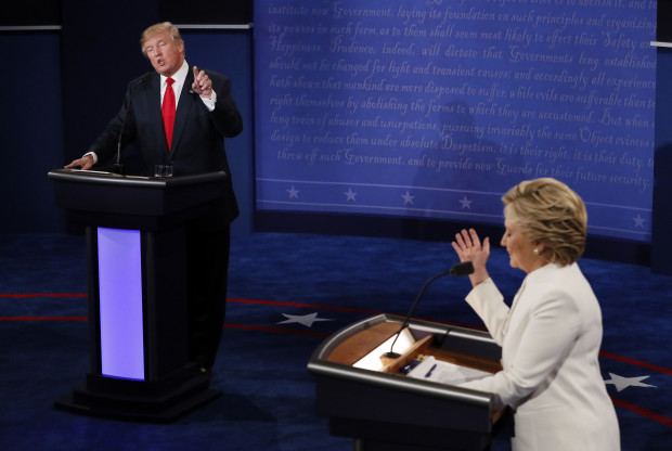 Democratic presidential nominee Hillary Clinton debates with Republican presidential nominee Donald Trump during the third presidential debate at UNLV in Las Vegas, Wednesday, Oct. 19, 2016.