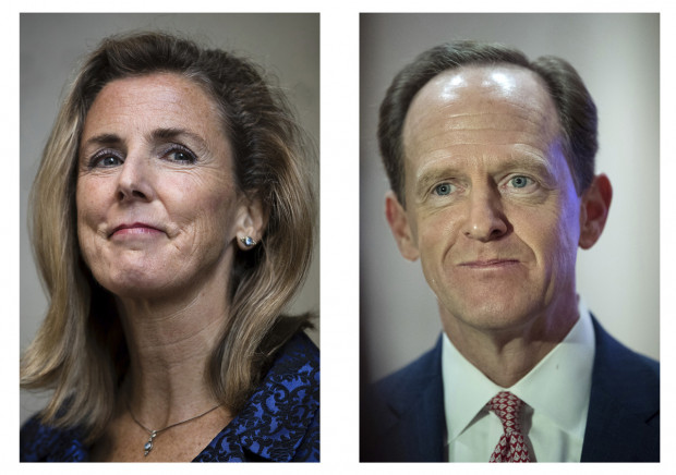 In this combination of photos shows Pennsylvania U.S. Senate candidates Democrat Katie McGinty, left, in Philadelphia, and Republican Sen. Pat Toomey, R-Pa., on Tuesday, Oct. 11, 2016, in Villanova, Pa.