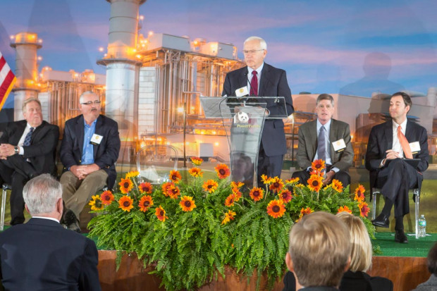State Sen. Gene Yaw (R- Bradford) speaks Thursday at the commissioning of a new  gas power plant.